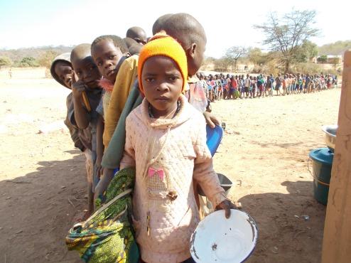 Feeding program kids queue